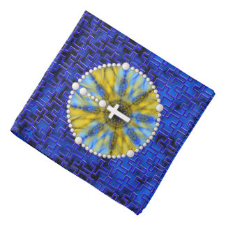 Rosary Dream Catcher Blue & Yellow Head Kerchief