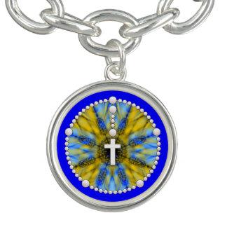 Rosary Dream Catcher Blue & Yellow Charm Bracelet