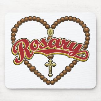 Rosary Heart Red Logo Mouse Pad