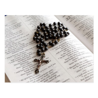 Rosary On Bible Post Cards