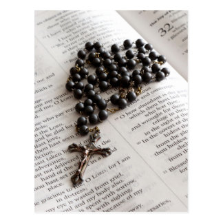 Rosary On Bible Postcards