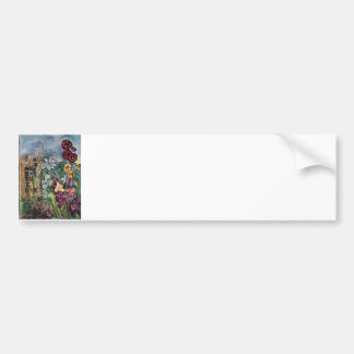 Rosary Prayer Garden Watercolor Bumper Sticker