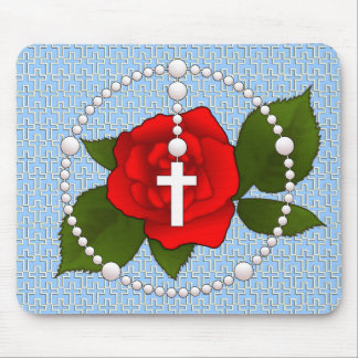 Rosary with Cross Pattern Mouse Mat