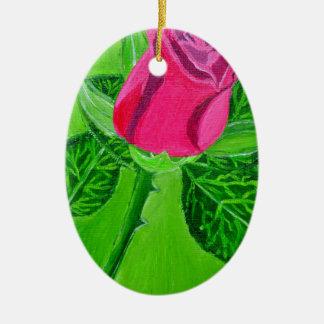 Rose 1a ceramic oval decoration