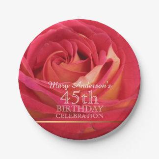 Rose 45th Birthday Celebration Paper plates -2-