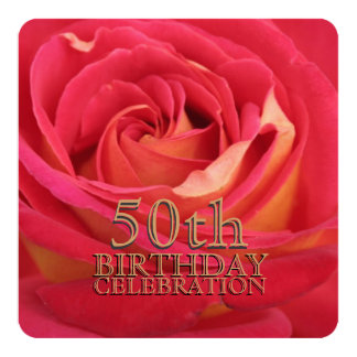 Rose 50th Birthday Celebration Custom Invitation