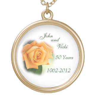 Rose 59th Anniversary Necklace- customize Round Pendant Necklace