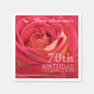 Rose 80th Birthday Celebration Paper Napkins -2-
