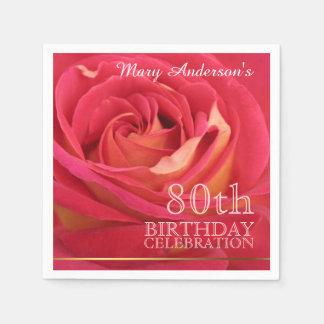 Rose 80th Birthday Celebration Paper Napkins -2-