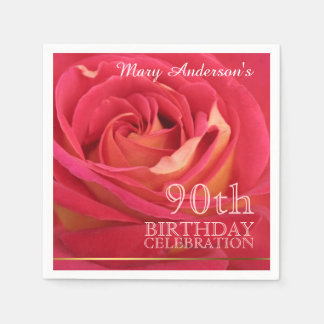 Rose 90th Birthday Celebration Paper Napkins -2-
