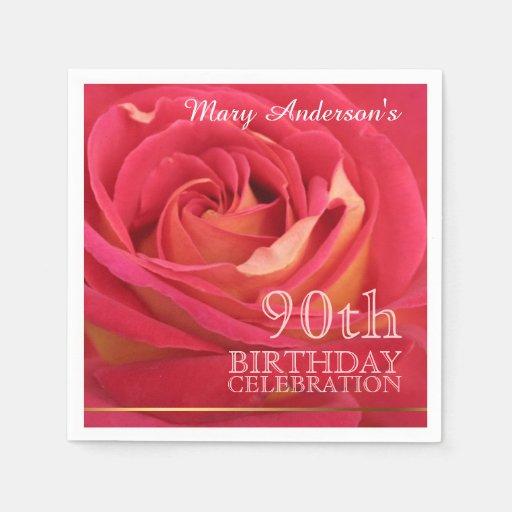 Monogram Paper Napkins Uk: Rose 90th Birthday Celebration Paper Napkins -2-