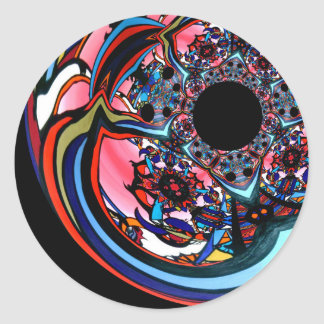 Rose abstract floral art Red Black Blue Round Sticker