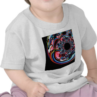 Rose abstract floral art Red Black Blue T-shirt