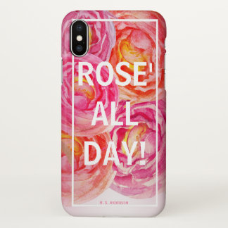 Rose All Day Funny Wine | Optional Personalization iPhone X Case