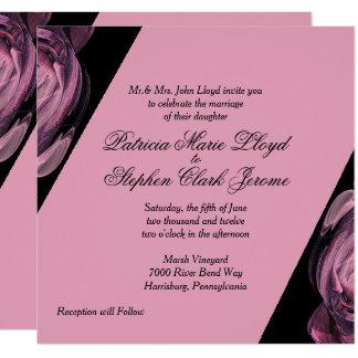 Rose and Black Unique Wedding Invitations