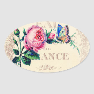 Rose and butterfly on antique french perfume label oval sticker
