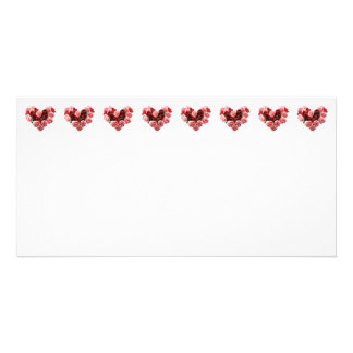 Rose and Carnation Heart Photo Greeting Card