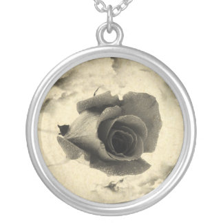 Rose and Clouds in Sepia Color Photo Pendant