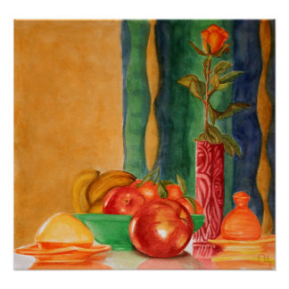 rose and fruits still life poster