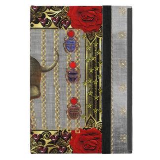 Rose and Golden Skull iPad Mini Cover