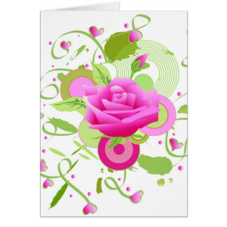 Rose and hearts greeting card