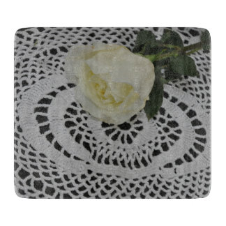 Rose and Lace Photo Cutting Board
