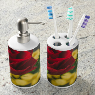 Rose and mimosas soap dispenser and toothbrush holder