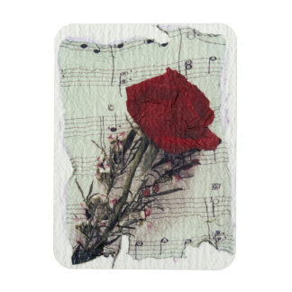 <Rose and Music> by Kim Koza 2 Rectangular Magnets