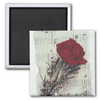 <Rose and Music> by Kim Koza 2 Square Magnet
