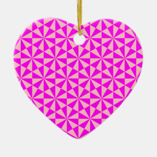 Rose and pink triangles pattern ceramic heart decoration