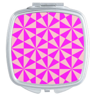 Rose and pink triangles pattern compact mirrors