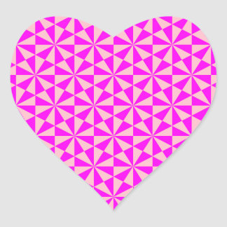 Rose and pink triangles pattern heart sticker