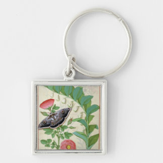 Rose and Polygonatum Silver-Colored Square Key Ring