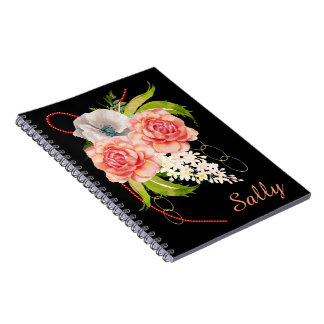 Rose and Red Beads Bouquet Notebook