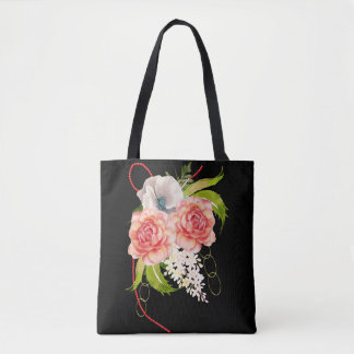 Rose and Red Beads Bouquet Tote Bag