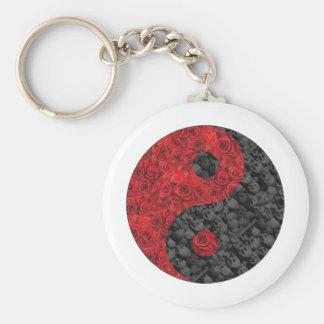 Rose and Skull Yin Yang Basic Round Button Key Ring