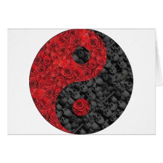 Rose and Skull Yin Yang Greeting Card