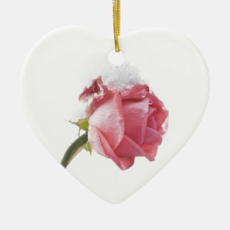 Rose And Snow Ceramic Heart Decoration