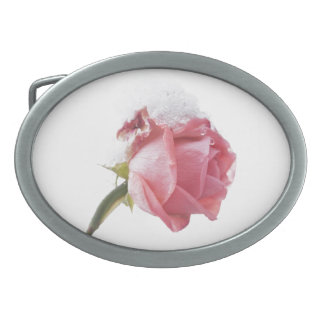 Rose And Snow Oval Belt Buckle