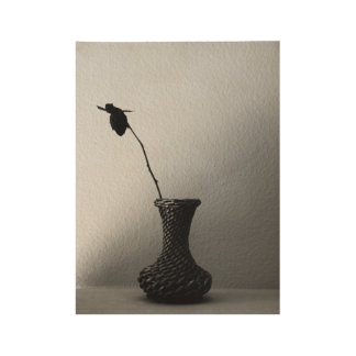Rose and Vase Sepia Still Life Wood Poster