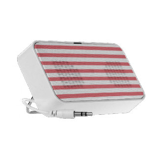 Rose and White Horizontal Stripe Portable Speaker