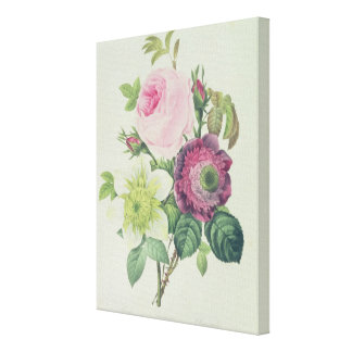 Rose, anemone and Clematide Canvas Print