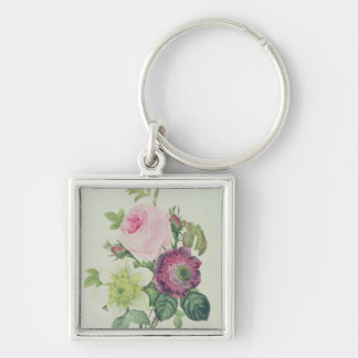Rose, anemone and Clematide Silver-Colored Square Key Ring