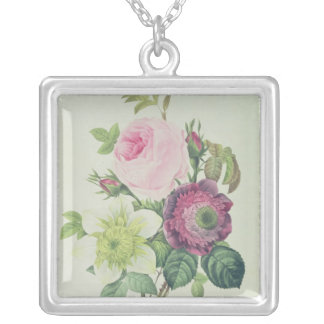 Rose, anemone and Clematide Silver Plated Necklace