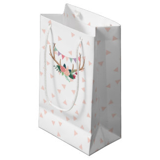 Rose Antlers & Party Bunting Girl's Birthday Small Gift Bag