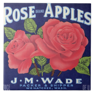 Rose Apples Fruit Crate Label Large Square Tile