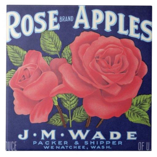 Rose Apples Fruit Crate Label Tile
