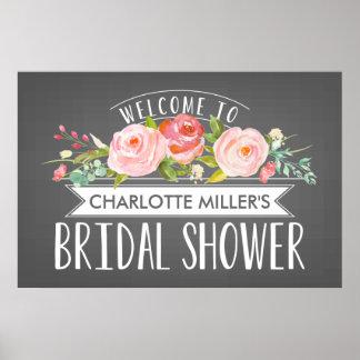 Rose Banner Bridal Shower Welcome Poster