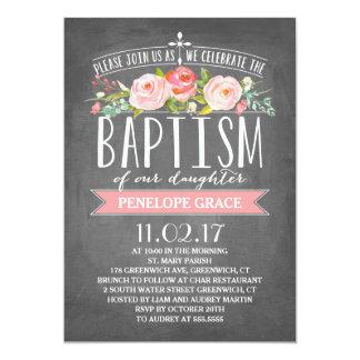 Rose Banner Chalkboard   Baptism Invitation