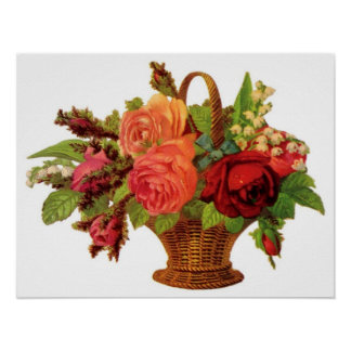 Rose Basket Customizable Poster